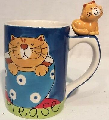 Indra Stoneware Coffee Please Cat mug With Cat On Handle Hand Painted
