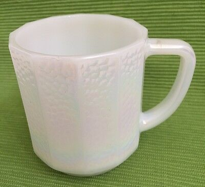 Federal Glass White Pearl Luster Rainbow Iridescent Milk Glass12 Side Coffee Cup