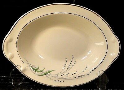 """Taylor Smith Taylor Green Wheat Oval Serving Bowl 1177 Vintage 30's 9 1/4"""" NICE"""