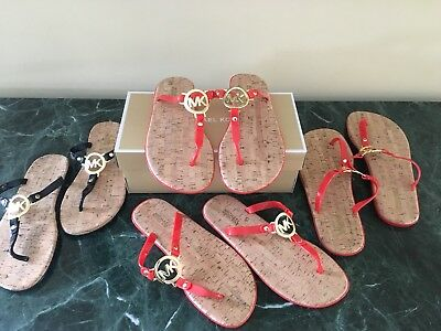 beafa083e084 Michael Kors Jelly Cork Charm Sandal Black Gold Orange Red Gold Flip Flop  New