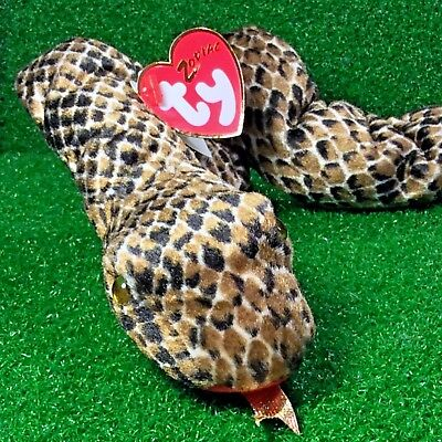 Rare Ty Beanie Baby Chinese Zodiac Collection Snake Retired Reptile Plush - MWMT