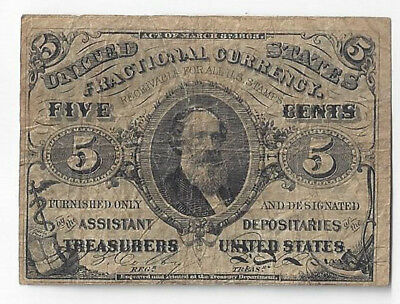 US Fractional Currency Five Cent Note 3rd Series Fr1238 TORN - 0995