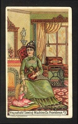 HOUSEHOLD SEWING MACHINE Woman Child Doll 1880's Victorian Trade Card
