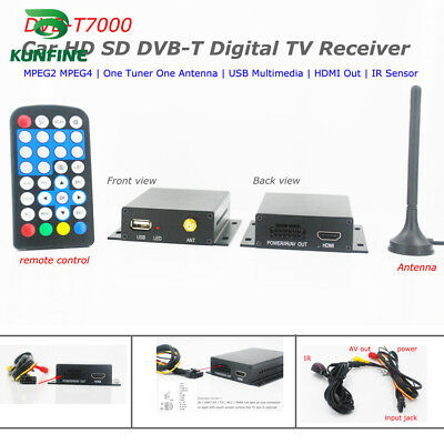 12-24V Car Digital TV DVB-T Receiver Box HDTV One Tuner MPEG4 MPEG2