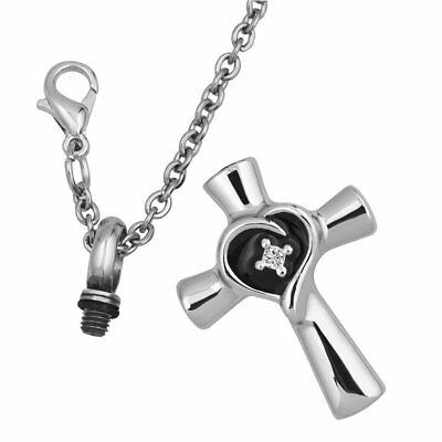 Stainless Steel Cross Urn Necklace for Ashes Keepsake Memorial Cremation Pendant