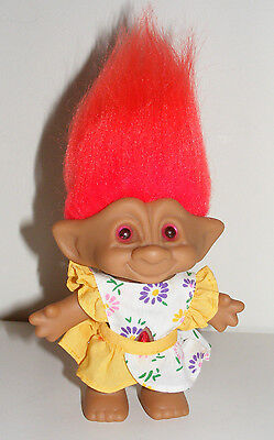 Vintage ACE NOVELTY Troll Doll Red - Orange Hair Jewel Gem Belly & Outfit B9