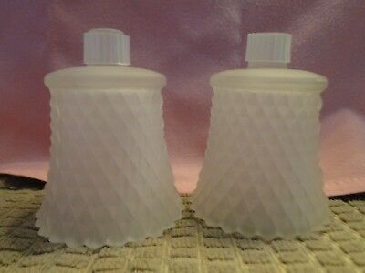 2 Homco Frosted Diamond Point Votive Candle Cups Home Interiors W/Grommets