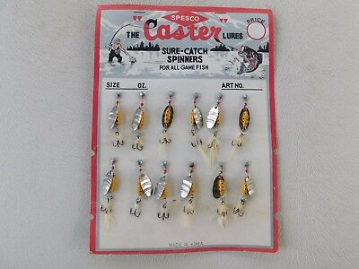 Vintage LOT of 12 SPESCO CASTER SURE CATCH SPINNERS on ORIGINAL DISPLAY CARD