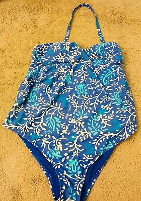 Maternity Swimsuit One Piece halter L blue turquoise white bathing suit beach