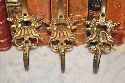 One Antique French Brass Large Double Coat Hat Hook Cherubs Crown