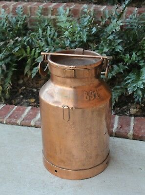 """Antique French Country Copper Farm Farmhouse Milk Can Jug with Lid """"891"""""""