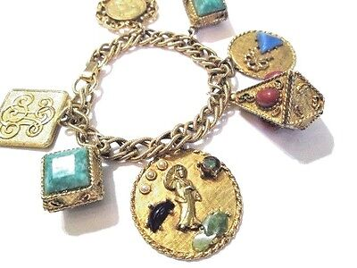 Large Charms Chunky Gold Tone Fob Fancy Bracelet Mid Century 1960's Or Older