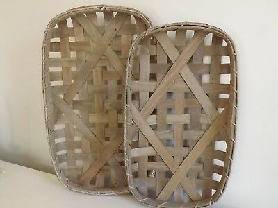 Tobacco Baskets (Set of 2) Rustic Farmhouse Primitive French Country Decor