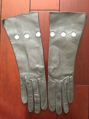 Vintage Hand Stitched Charcoal Gray Leather Gloves Size 7