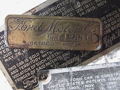 Three Orig Ford Model T Era 1914  Original Data Plates, Body Plate Brass & Bold