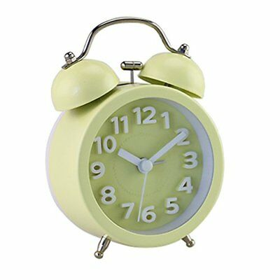 Yellow Mini Vintage Classic Bedside Anolog Alarm Clock Backlight Battery