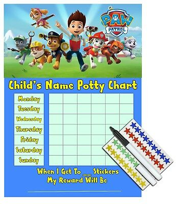 Kids Children Boys Potty Training Sticker Reward Chart - PAW PATROL