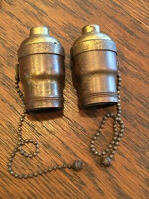 "Antique Lamp Socket Pair Bryant 8"" Acorn Pull Chains Vintage Brass Fat Boy"