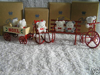 Avon Lot 4 Christmas Teddy Bear Ornaments Trike  Bench  Rocker Wagon NIB Display
