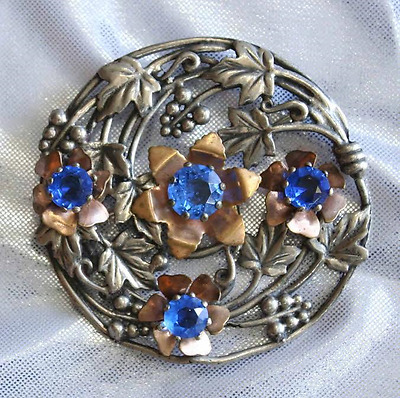 Fabulous Floral Blue Rhinestone Silvery & Golden Brooch 1930s vintage