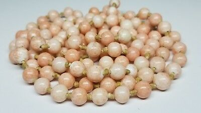 """Vintage Art Deco Faux Coral Mottled Pink Glass Hand Knotted Czech Necklace 50"""""""