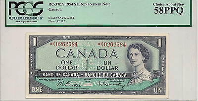 1954  $1    Canadian Banknote, Replacment Note *A/Y-AU