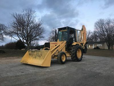 Ford 555 Tlb Backhoe Loader Full Cab Rubber Tire Bob Cat Tractor Snow Plow Thumb