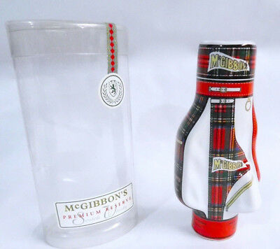 Mcgibbons Golf Bag Decanter Bottle Red Royal Stewart Tartan Empty Miniature, Box