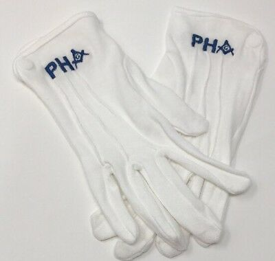 MASONIC FREEMASON PHA EMBROIDERED DRESS GLOVES (one size fits most)