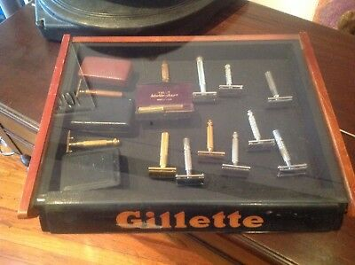 vintage gillette razor with store display lot