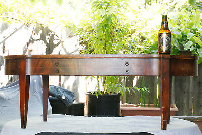 Mid-20 Century Mahogany Leather Top Goldleaf Embossed Oval Coffee Table W/drawer