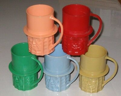 PLANTERS MR PEANUT PLASTIC CUPS MUGS LOT OF 5 DIFFERENT - 1950's