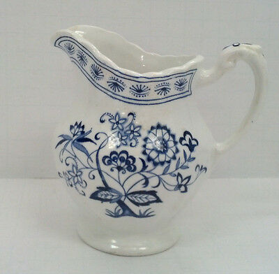 J & G Meakin classic white Nordic blue floral  pattern small pitcher creamer