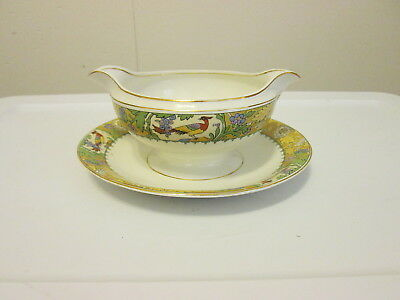 """W. H. Grindley WRENBURY """"bird of paradise"""" Gravy Boat with Attached Underplate"""