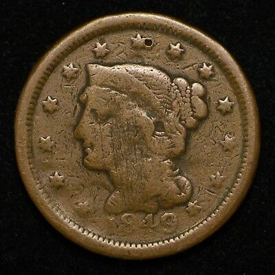 1849 Braided Hair Large Cent Cleaned and Scratches (bb305)