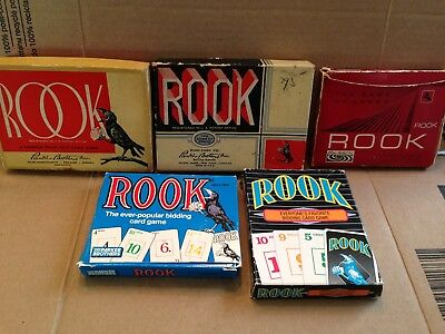 "Vintage lot of Parker Brothers ""ROOK"" CARD GAMES Mixed years 92 '88 '68 '43 '36"
