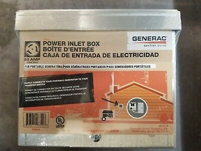 Generac 6344 50-Amp 125/250V Raintight Aluminum Power Inlet Box