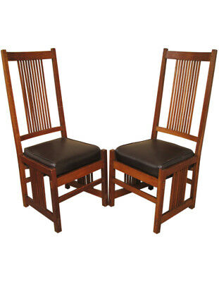 Pair of Superb & Rare Antique Gustav Stickley Spindle High Back Chairs  inv369