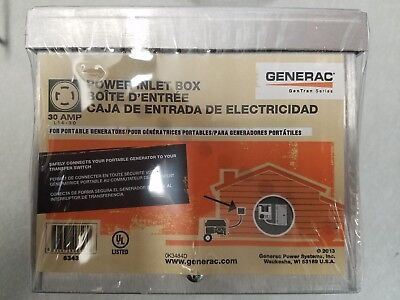 Generac 6343 30-Amp 125/250V Raintight Aluminum Power Inlet Box
