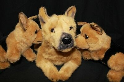 Prima Plush Toys German Shepherd & Two Puppies Fuzzy Wuzzy  Dogs Cute Stuffies