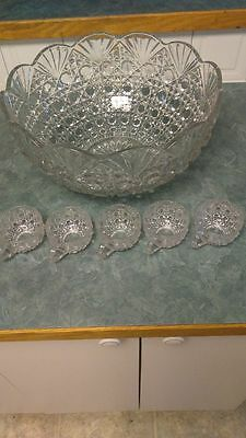 Vintage to Antique Cut Crystal Punch Bowl And Lot of 5 Matching Punch Glasses
