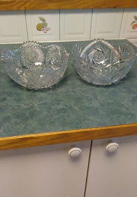 Lot of 2 Vintage to Antique Cut Crystal Bowls