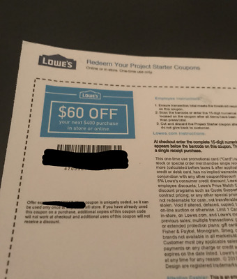 ONE 1X Lowes $60 OFF $400 Lowe's Coupons - IN STORE/ONLINE  - USPS FIRST CLASS