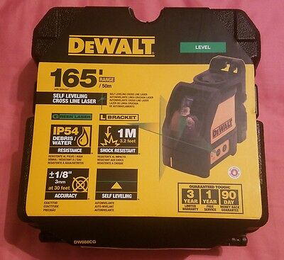 Brand New! DEWALT Model DW088CG  GREEN  CROSS LINE LASER