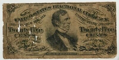 Circ. 1863 Series 25 TWENTY FIVE CENTS THIRD ISSUE FRACTIONAL CURRENCY NOTE !!