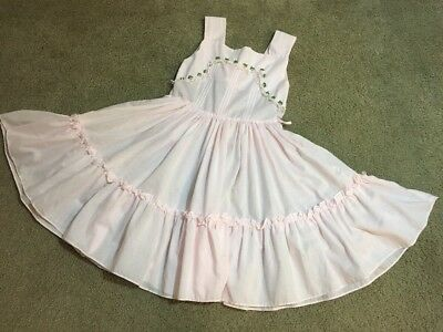 7 Mary Louise Girls Vintage Dress Pink Sleeveless Thin Cotton Ruffle Roses