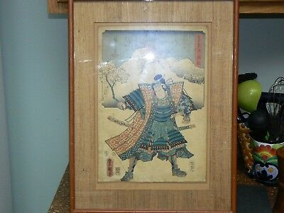 Early 19th Cent. Samurai Woodblock by Hiroshige/Toyokuni