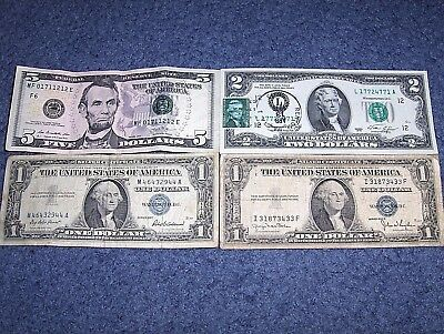 Lot Of Four Old Us Notes And Silver Certificates With 4-Of-A-Kind Serial Numbers