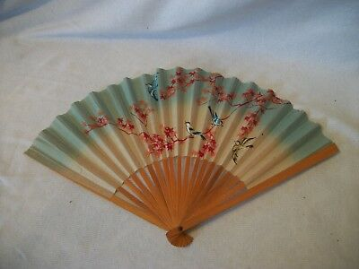 Vintage Japanese Paper Fan Hand-Painted Made in Occupied Japan * BIRDS *
