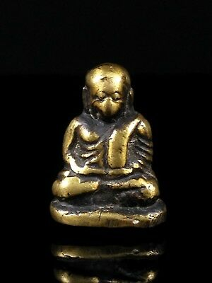 thai buddha amulet old Statue Brass LP Ngern The maestro pendant antique